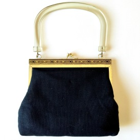 Vintage 1950s Purse with Lucite Handle